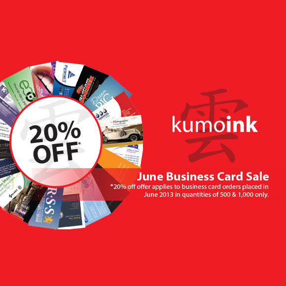 June Business Card Sale - 20% Off Business Cards!