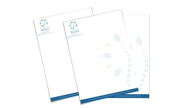 West Lothian Chiropractic Stationery